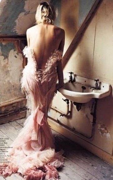 dress pink tulle mermaid