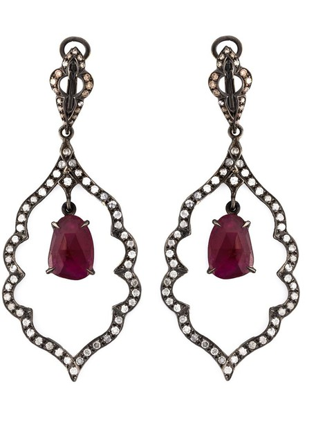 Loree Rodkin women earrings gold black jewels