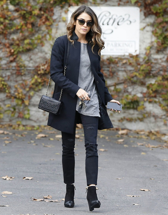 shoes fall outfits sunglasses top jeans bag ashley greene pants coat