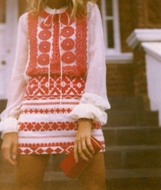 dress white red etnic hippie boho bohem bohemian gypsy native nativeamerican ebroidery old school 60s style 70s style native american