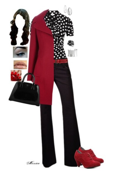 polka dot maroon coat fall outfits