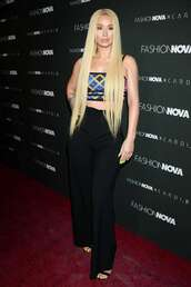 pants,wide-leg pants,iggy azalea,crop tops,top