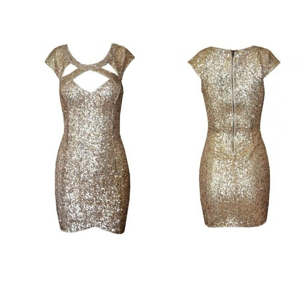 feclothing                  - Fashion gold sequined short sleeve cut out dress. Party Dress