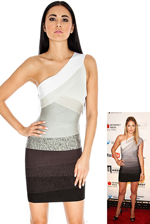 Grey and Black One Shoulder Bodycon Dress in the style of Doutzen Kroes