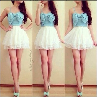 top sky blue crop top white ruffled skirt strappy top high waisted skirt tulle skirt