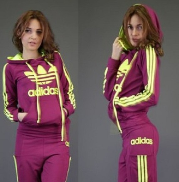 hood jumpsuit lilac tracksuit 3 stripes adidas neon adidas neon outfits