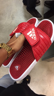 shoes,adidas,red,menswear,slippers