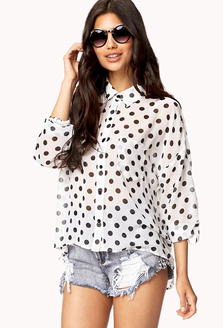 Polka Dot Dolman Shirt | FOREVER21 - 2058007379