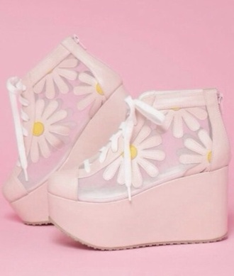 shoes transparent shoes platform shoes floral flower shoes daisy daisy shoes high heels lace up platform lace up boots platform sneakers platforms