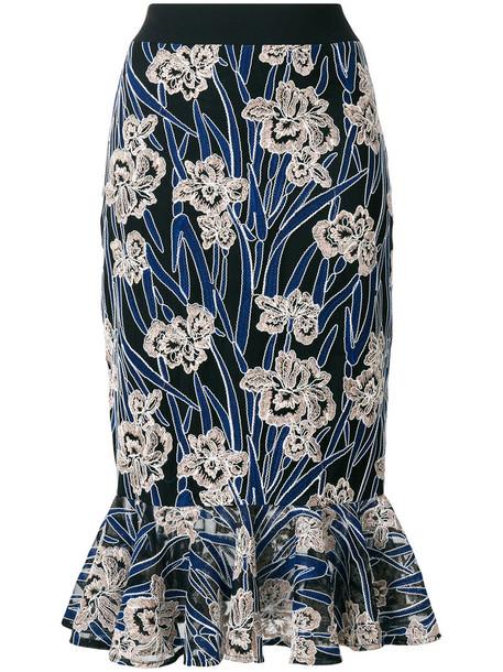 Three Floor skirt mermaid skirt women mermaid floral blue