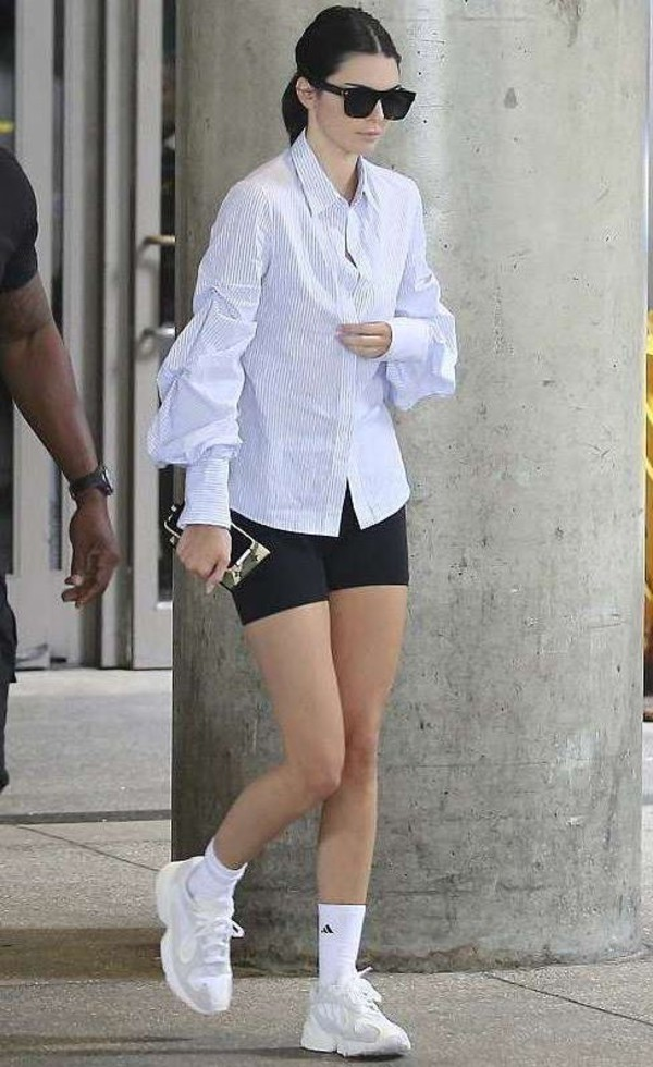 shirt shorts kendall jenner celebrity casual sneakers sunglasses top blouse stripes