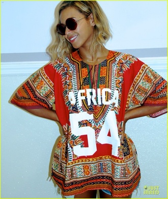 shirt beyonce pattern africa jewels hat sunglasses
