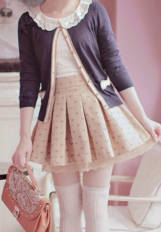 cardigan girly japan cute style fashion socks skirt clothes kawaii cute lace frill bows asian beige asian fashion beige skirts cute skirts