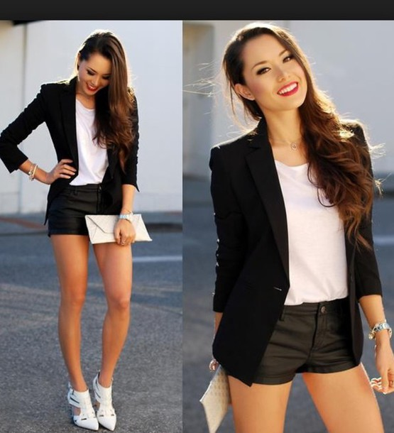 pants black leather shorts