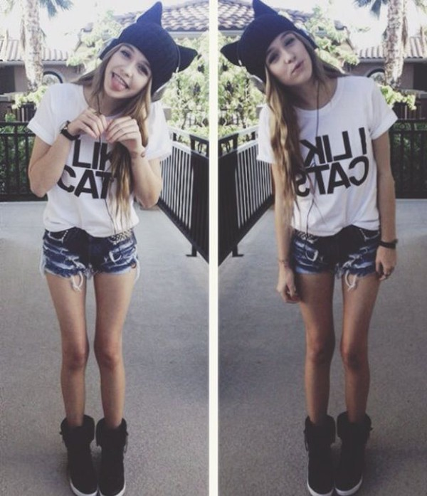 acacia brinley cat ears black beanie hi tops swag cute white t-shirt cut off shorts shorts shirt hat shoes scarf