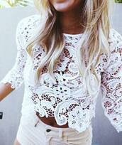 top,white,lace,crochet,hollow out,hollow out lace top,white top,white blouse,sexy,sexy top,sexy blouse,floral,floral lace top,long sleeves,crop,cropped,crop tops,sheer,sheer top,see through,see htrough top,see through top,short sleeve,summer,summer top,spring,beach,beach top,party,party top,girly,girly wishlist,hot,cool,pretty,preppy,musthave,tumblr,tumblr top,tumblr outfit,pinterest,fashion,fashion top,fashion toast,fashion vibe,fashion coolture,fashion inspo,fashionista,preppy fashionist,american style,jeans shorts top,jeans top,moraki,blouse,t-shirt,tank top,fashion is a playground,a fashionista
