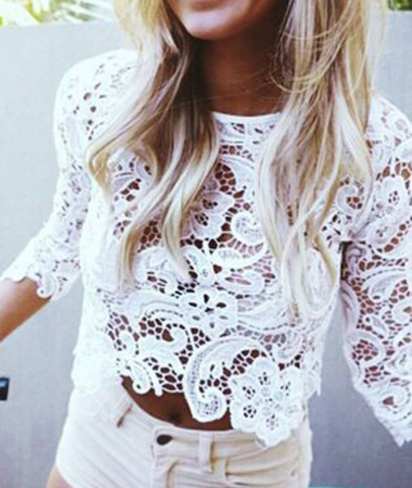 Top White Lace Crochet Hollow Out Hollow Out Lace Top