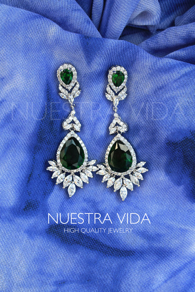 jewels earrings emerald emerald green earrings zircon jewelry earrings