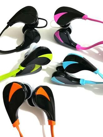 earphones bluetooth blue pink green orange black sportswear for any phone wireless computer