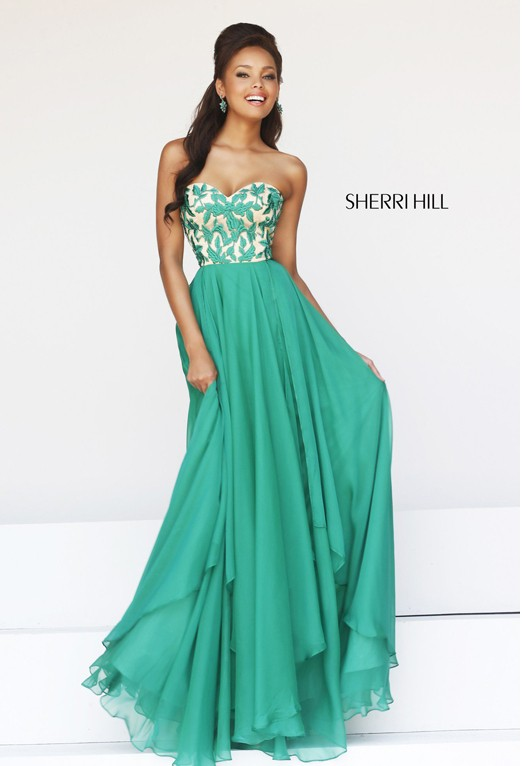 Layered Strapless Green Prom Dress by SH 1924 [Dress 1924 by Sherri Hill] - $169.00 : Fashion Cheap Homecoming Dresses for Girls at homecomingdressesfashion.com