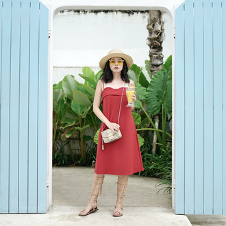 olivia lazuardy blogger hat dress bag shoes red dress crossbody bag straw hat gladiators spring outfits