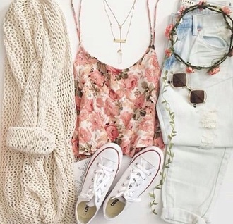 cardigan floral top light jeans knitted cardigan