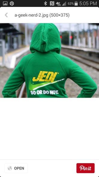 jacket sweater green sweatshirt jedi nike hoodie