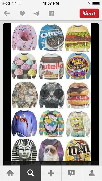cupcake angry cat oreo food pharaoh spongebob adventure time m&m's sweater shirt