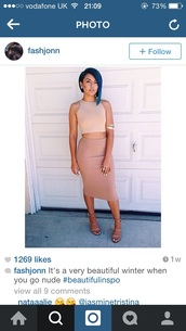skirt,nude,jersey,bodycon skirt,top,all nude everything
