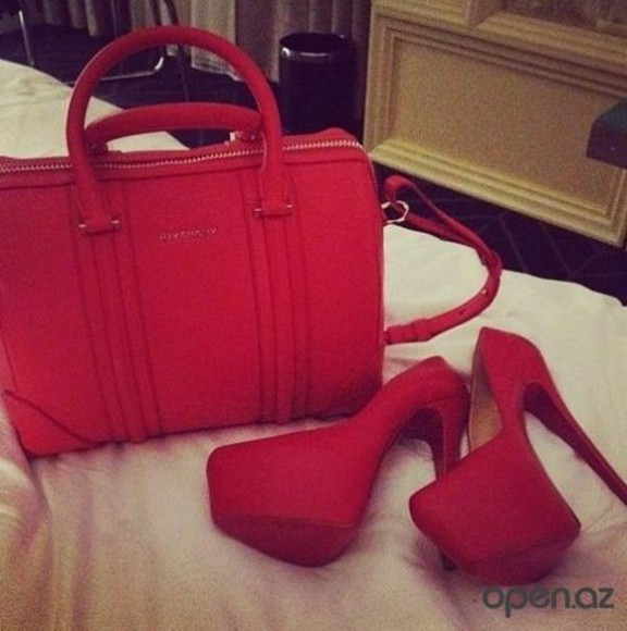 red bag shoes bag red shoes beautiful shoes beautiful bag