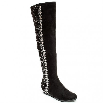 Suede Knee High Boots Jeweled Flat shoes