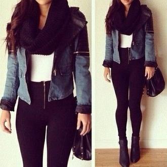jacket scarf black scarf pants black hair accessory echarpe tube