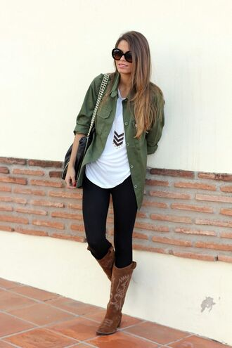 jewels clothes cute fall outfits fashion outfit blogger jacket bag khaki camo jacket darker green jacket button down pockets cardigan green