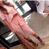 top,pink,two-piece,pants,crop tops,shoes,shirt,heels,high heels,jewelry,bracelets,cotton,pastel pink,matching pants and top,jumpsuit,pink dress,blouse