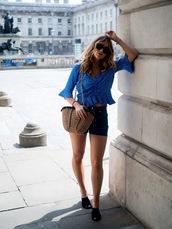 top,shoes,tumblr,polka dots,blue top,crop tops,shorts,denim,denim shorts,bag,basket bag,mules,sunglasses