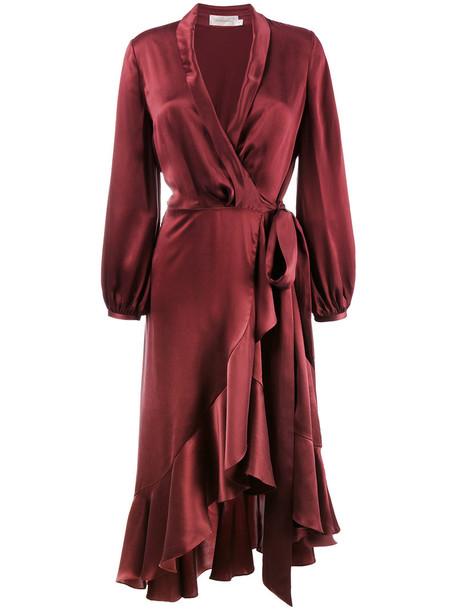 dress wrap dress ruffle women silk red