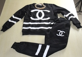 pants tracksuit hoodie chanel black shirt jeans black sweater black sweatpants chanel inspired sweater sweatpants