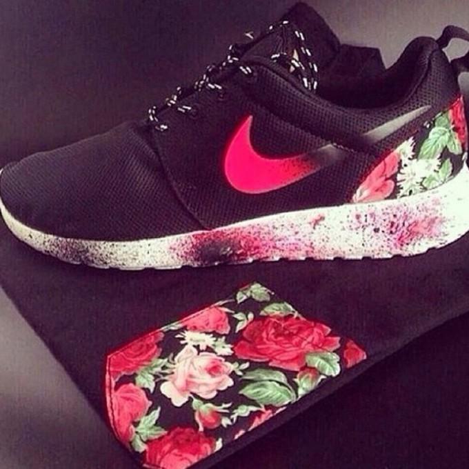 Flower Black And Pink Nike Roshe  edd4fbcf0bb6