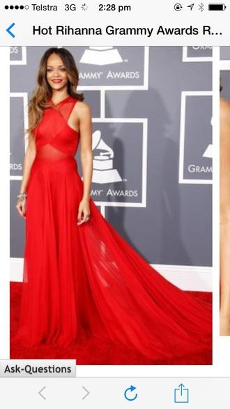 dress red rhianna long dress