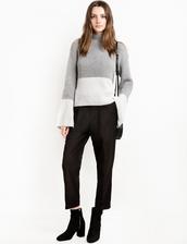 sweater,color block grey sweater,color block sweater,grey sweater,oversized sweater