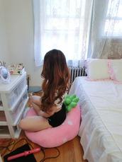 strawberry,kawaii,bean bag,chair,pink,home decor,home accessory,kawaii accessory