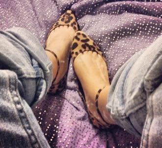 shoes leopard flats leopard print ankle strap