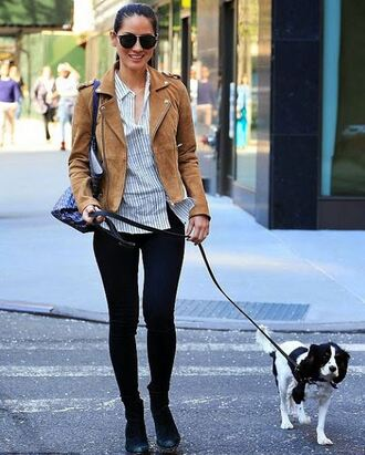 jacket biker jacket olivia munn sunglasses black sunglasses