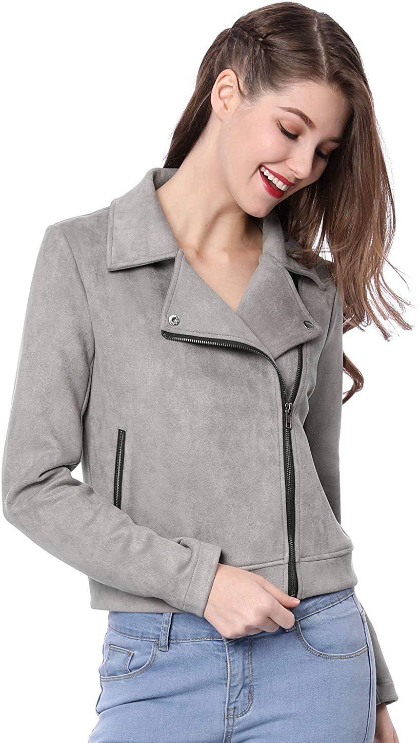 Allegra K Women's Short Soft Zip up Faux Suede Biker Moto Jacket at Amazon Women's Coats Shop