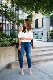 sequins and stripes,blogger,shoes,bag,off the shoulder,white top,skinny jeans,black bag,shoulder bag,lace up heels,grey heels