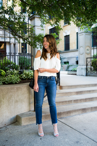 sequins and stripes blogger shoes bag off the shoulder white top skinny jeans black bag shoulder bag lace up heels grey heels
