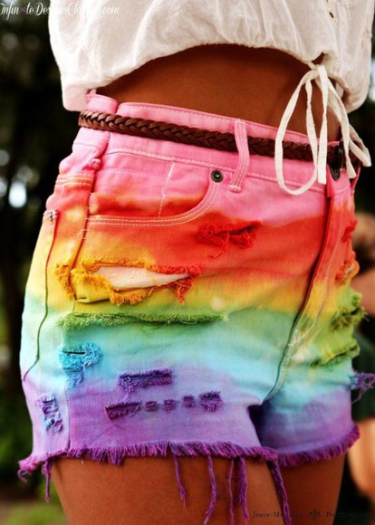 tie dye dip dyed High waisted shorts shorts