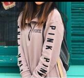 jacket,light pink,half zip,quarter zip,vspink,pink by victorias secret,pullover,oversized