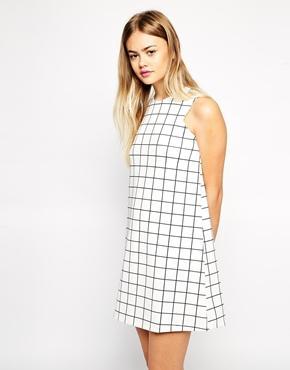 Asos scuba shift dress in check print at asos