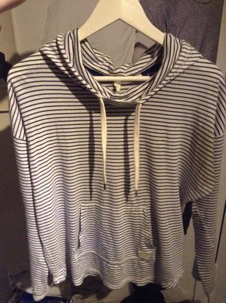 sweater l.o.g.g blue white striped sweater hoodie